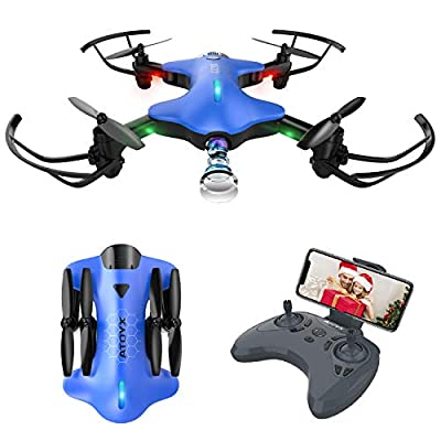 ATOYX AT-146 WiFi FPV 720P HD Camera Drone, FPV real-time video collapsible portable aircraft toy with gravity control, image tracking, custom flight path ect?Suitable for beginners and children?Blue