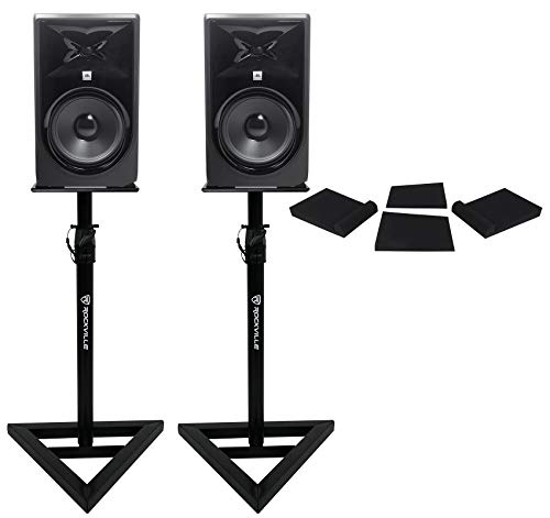 "2 JBL 308P MkII 8"" Powered Studio Reference Monitors Monitoring Speakers+Stands"