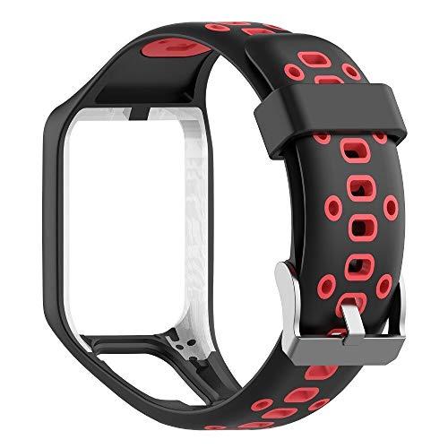 Pulseiras cores duplas de Silicone TomTom Para Relógio Tomtom Runner 2/3 / Spark/Adventurer/Golfer/Cardio (Preto c/ vermelho)
