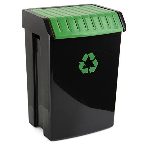 TATAY Poubelle de Recyclage, Capacité 50L, Couvercle Basculant, Polypropylène, Sans BPA, Protection Solaire, Vert. Mesure 40,5 x 33,5 x 57,5 cm