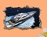 Wandtattoo Super Luxus Yacht Sea Speed Kunst Wandaufkleber Raum Büro...