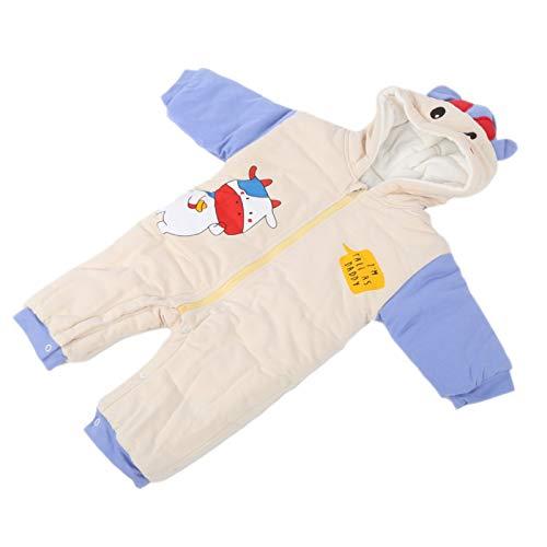 Mono para bebé, cómodo mameluco con capucha y cierre de botón en la entrepierna, para niños invierno(Beige, 90cm)