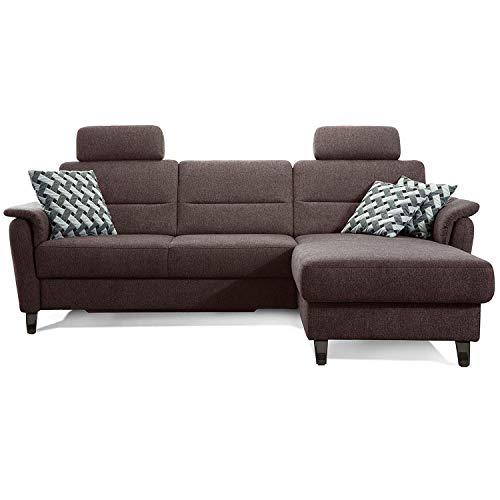 Cavadore Ecksofa Palera mit Federkern / L-Form Sofa mit Longchair rechts / 244 x 89 x 164 / Stoff Braun