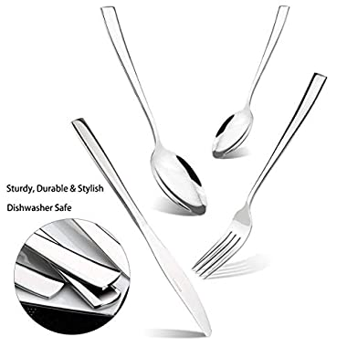Silverware Set Service for 8, 32-piece Stainless Steel Flatware Set, Mirror Polishing Dinnerware Cutlery Set, Solid Knives, Forks, Spoons Tableware Utensil Set for Home Kitchen Restaurant