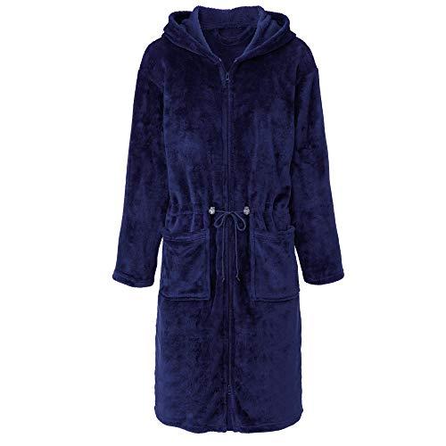 CelinaTex Vital Bademantel Damen lang XL dunkel blau Mikro Flanell Morgenmantel Kapuze Saunamantel Reißverschluss