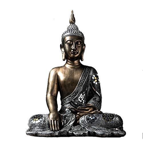 Love lamp Thai Zen Buda Sentado, Buda de la Medicina Medicina Gran Templo Estatua del jardín de colección Figuras contemplativo Estatua de Buda