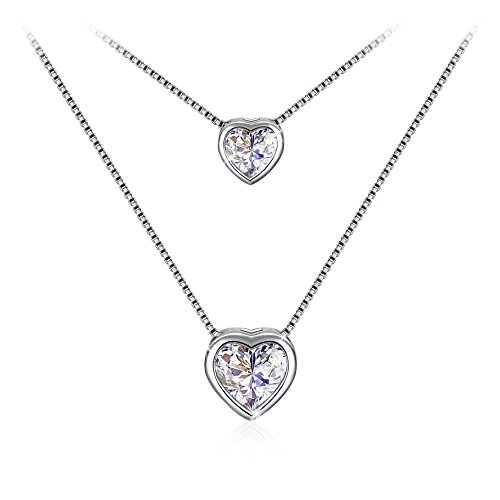 J.Rosée Heart Necklaces with 925 Sterling Silver and 3A Cubic Zirconia Pendent Necklace, 18''+ 2