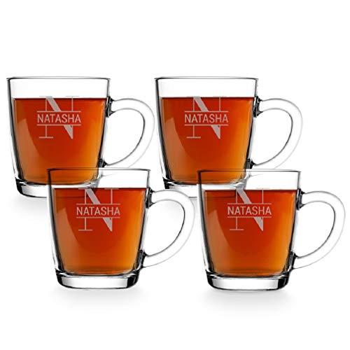 Taza de té Personalizada - Taza de té con Nombre Grabado: Personalizable con Texto, diseños y Diferentes Tipos de...