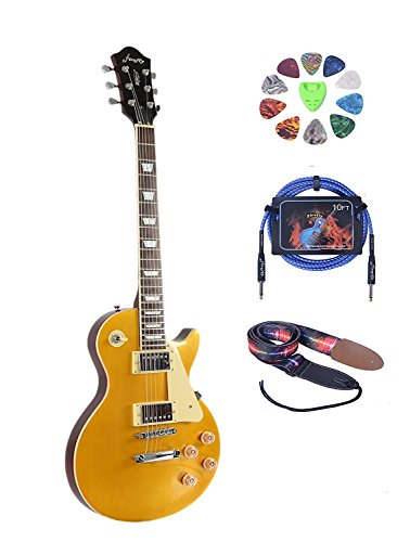 Full Size Electric Guitar (2V&2T) with Picks,Cable and Strap (Golden Top)