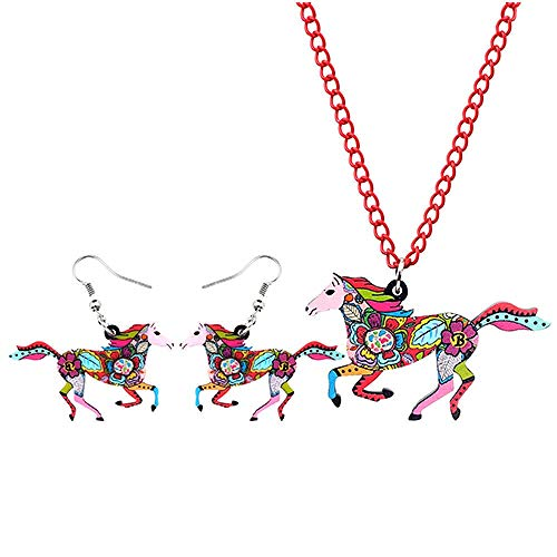 Jskdzfy Pendientes de acrílico coloridos para correr, collar y collar de joyería de animales para mujeres y niñas (color: D)