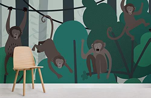 Home Kindertapete Illustrierte Spinnenaffe Regenwald Baldachin Tapete Wandbild 350x250cm