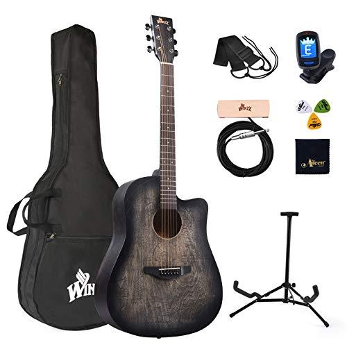 Winzz Westerngitarre 4/4, Akustikgitarre Erwachsene 41 Zoll, Anfänger Gitarren Set (Gravur im Vintage-Stil)