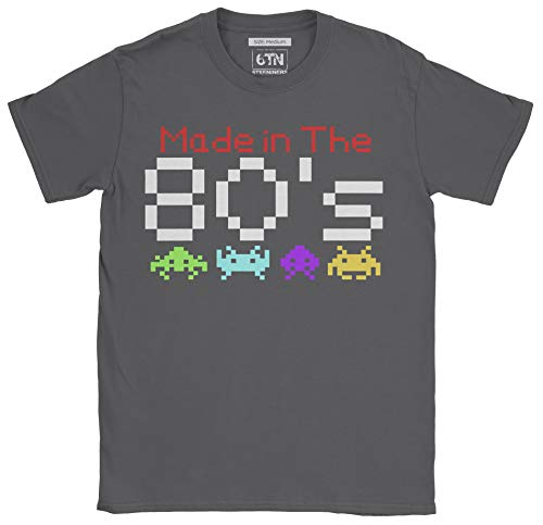 6TN Hombre Hecho en la Camiseta de los años 80 (M, Carbón)