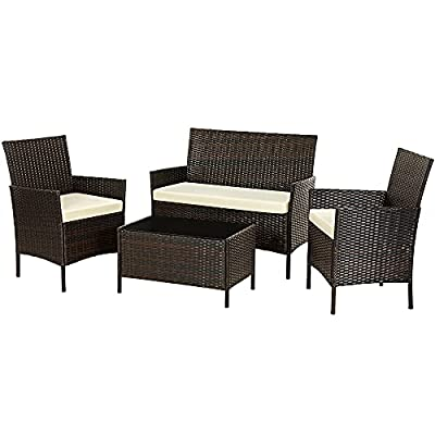 SONGMICS Patio Furniture Set, PE Wicker Outdoor Furniture, for Porch Deck Backyard Outside Use, Brown and Beige UGGF002BR1