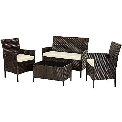 SONGMICS Gartenmöbel-Set aus Polyrattan, Lounge-Set, in Rattanoptik, Terrassenmöbel, Balkonmöbel, für Terrasse, Garten, Balkon, braun-beige GGF002K02