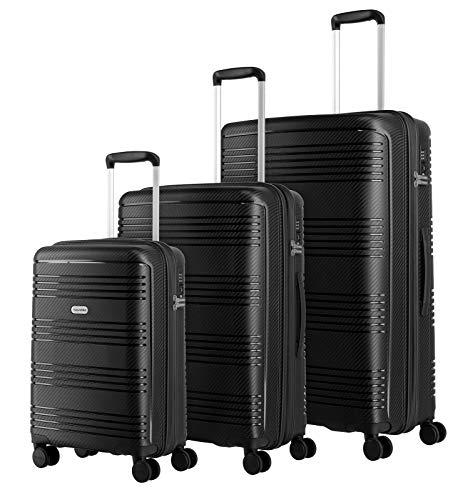 travelite 4-Rad Koffer Set L/M/S Hartschale mit TSA Schloss, Handgepäck erfüllt IATA-Bordgepäckmaß, Gepäck Serie ZENIT: Robuster Hartschalen Trolley in unverwechselbarer Optik, 075740-01, schwarz