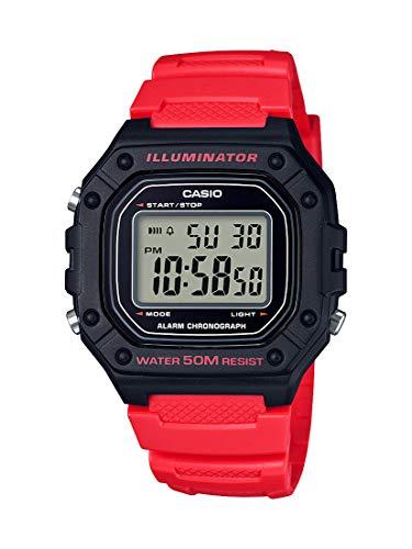 Casio Reloj clásico de cuarzo de acero inoxidable con correa de resina, rojo, 21.1 (Modelo: W-218H-4BVCF)