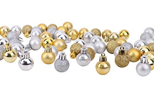 Toyland® Set mit 64 Mini-Weihnachtskugeln 32 Gold 32 Silber 2,5 cm (25 mm)