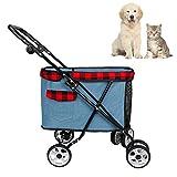 HHGO Faltbarer Hundebuggy Hundewagen Bis 25 Kg, Kinderwagen Für Kleine Mittel Große Hundekatze 4 Rad,Welpen Buggy Haustierzubehör Hundebuggy
