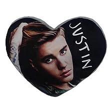 Justin Bieber - Cojín con Forma de corazón (Tamaño Único) (Multicolor)