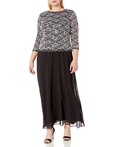 Alex Evenings Women's Plus-Size Long Evening Gown with Sequin Lace Bodice Dress, Black/White, 20W