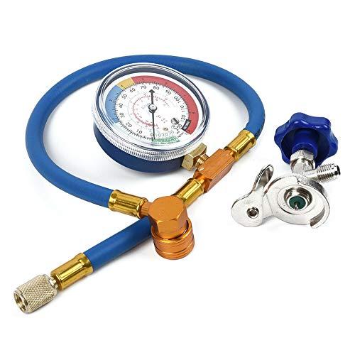 LAOOWANG R134A R12 Schlauch Kunststoff Metall Klimaanlage Kältemittel Nachfüll Messkit mit 0-250psi Manometer und Ventil kann tippen