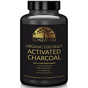 Schizandu Organic Activated Coconut Charcoal Capsules, 100% Pure Detox, Non GMO | 210 Pills | Use for Detoxification, Teeth Whitening, Digestive Health, Hangover Prevention