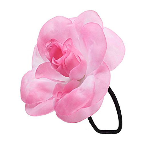 Amakando Blumen Haargummi Hawaii Haarschmuck pink Hibiskus Zopfgummi Südsee Haarblume am Gummi Strandparty Haar Schmuck Mottoparty Haargummis