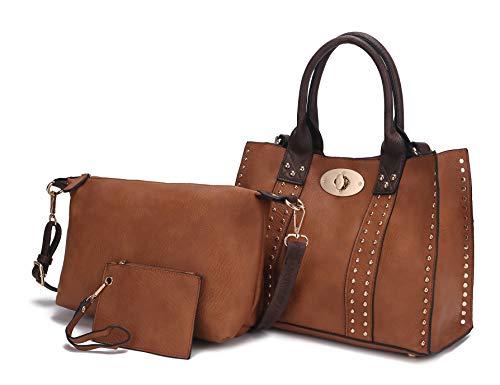 Mia K Collection 3-PC Set, Studded Tote Bag for Women, Pouch Handbag, Wristlet Purse, Crossbody Shoulder Strap PU Leather Camel