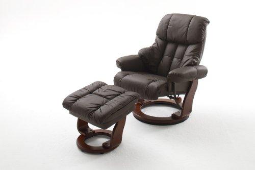 Robas Lund Leder Relaxsessel TV Sessel mit Hocker bis 130 Kg, Fernsehsessel Echtleder braun, Calgary