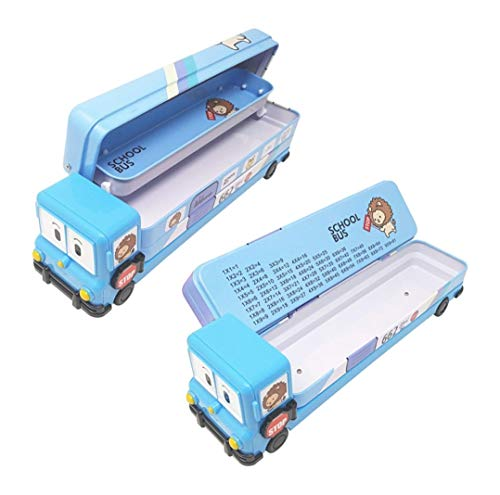 Vikas gift gallery Cartoon Printed School Bus Metal Pencil Box with Moving Tyres and Sharpener for Kids (Multicolour)