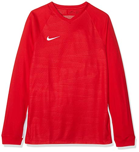 Nike Kinder Tiempo Premier Football Jersey Long Sleeved T-shirt, Rot (University Red/White 657), M