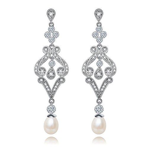Hanie–Pendientes de perlas, largos, de plata, de flores, con circonitas, blancos, con...
