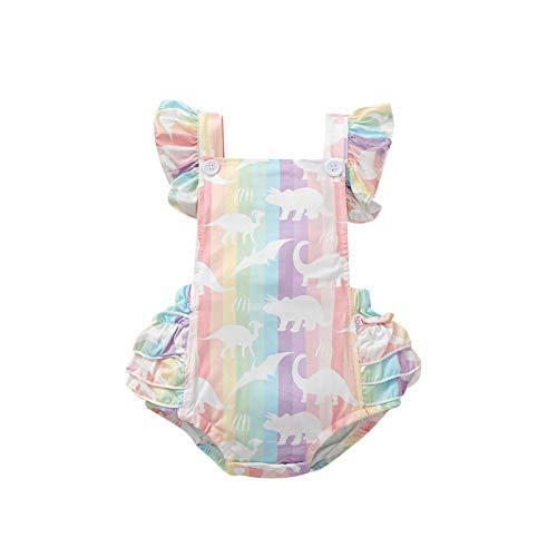 Chollius Body de bebé para niña, multicolor, impresión de dinosaurio, manga y volantes, de verano, elástico, suave, 0-24 meses De colores 12-18 Meses