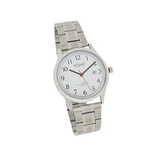 Cosmo 301116-Zi MB Bianco Orologio da uomo orologio in acciaio inossidabile acciaio inossidabile 3analogico Data Argento