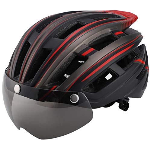 Lewpox Casco de Bicicleta con luz LED, Casco de Bicicleta a Prueba de Viento removible, Casco MTB con Visera magnética removible, Mujeres Unisex Mujeres