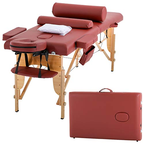 Massage Table Massage Bed Spa Bed 73 Inches Height Adjustable Cradle Portable Massage Salon Table W/Sheet Bolster Hanger Facial 2 Folding Salon Tattoo Bed