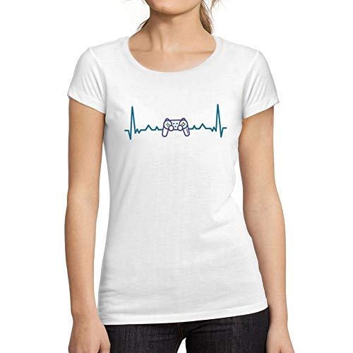 Ultrabasic - Camiseta de Mujer Corta de Mujer Juego de Azar Friki Latido del Corazón Camiseta Esports Stampato Lettere Blanco
