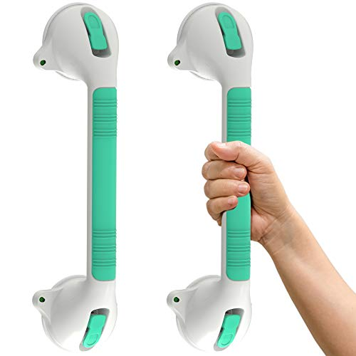 SAFETY+BEAUTY Glow-in-Dark Suction Bath Grab Bar with Indicators, Bathroom Shower Handle, Green/White | 16.5in, 2 Pack
