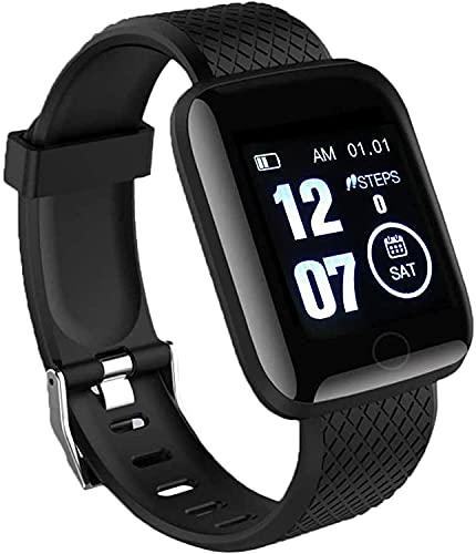 MZYKA Reloj inteligente, rastreador de fitness, pantalla a color, pulsera deportiva inteligente, monitor de frecuencia cardíaca, podómetro para montar a caballo, color azul (negro)