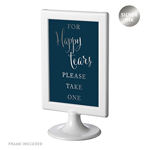 Andaz Press Framed Wedding Party Signs, Metallic Silver Ink on Navy Blue, 4x6-inch, For Happy Tears Tissue Kleenex Ceremony Sign, 1-Pack