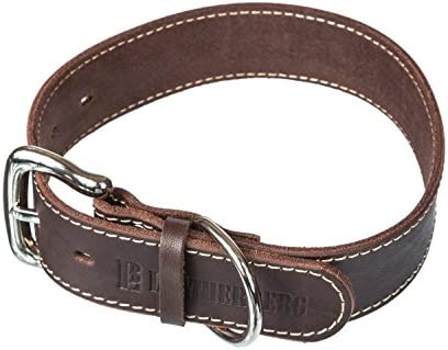 LEATHERBERG Leather Dog Collar Brown 1 5 Wide Leather Collar for Large Dogs product image