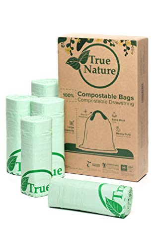 True Nature 100% Compostable Bags | 13G/49.2L, 1.2Mil 75-Ct Extra Thick, Heavy Duty | Easy-to-Use Drawstring Tie | XL Kitchen/Yard Waste Bags | BPI ASTM D6400, EU OK Biobased Certified