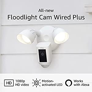 All-new Ring Floodlight Cam Wired Plus with motion-activated 1080p HD video, White (2021 release)