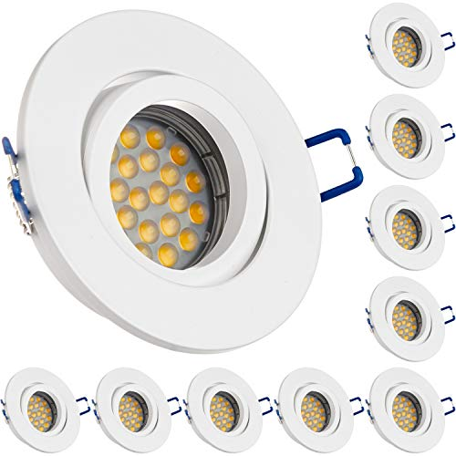 LEDANDO 10er LED Einbaustrahler Set für Spanndecken Weiß matt 5W DIMMBAR LED GU10 Deckenstrahler - Spots - Deckenspots - Deckspot