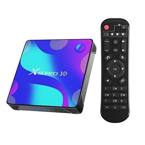 Android 10.0 TV Box, X88 Pro 10 TV Box 2GB RAM 16GB ROM RK3318 Quad-Core Supporto 2.4GHz 5GHz WiFi Bluetooth 4.0, 4K HDMI Smart TV Box