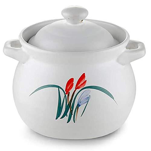 YFGQBCP Cacerola Alta Utensilios de Cocina de la Olla de Tierra Hecha a Mano con Tapa y manija Cacerola Saludable, cazuela de cerámica 4.5L