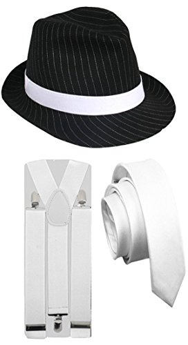 PINSTRIPE GANGSTER HAT TIE BRACES 1920'S TRILBY FEDORA PARTY FANCY DRESS COSTUME (3 PC White Full Costume)