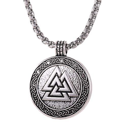 TEAMER Odin - Collar con colgante de nudo celta de plata antigua vikinga nórdico valknut talismán amuleto joyería de acero inoxidable cuadrado cadena larga para hombres y niños