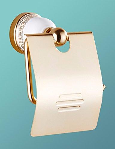QMPZG-Toilettenpapier Halter weltraum - aluminium, blauen und weißen porzellan, papier rollen toilettenpapier vergoldet, handtuchhalter, bad toilettenpapier rack, nie rost